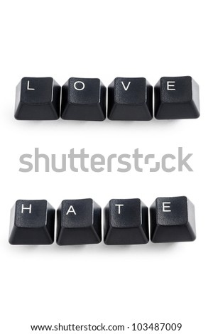 computer keys isolated on white spelling the word love and hate - stock photo