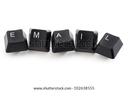 computer keys spelling the word email isolated on a white background - stock photo
