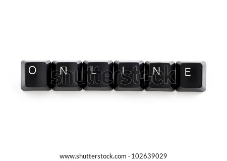 computer keys spelling the word online isolated on a white background - stock photo