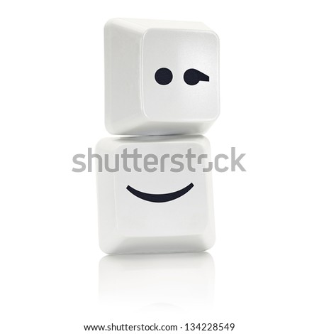 Computer Keys with social media blink symbol - stock photo