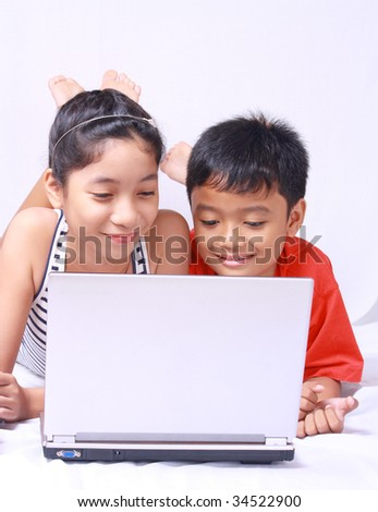 computer kids - stock photo