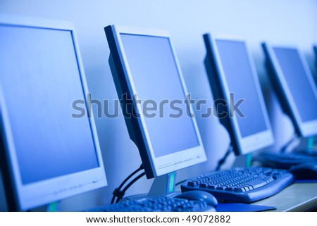computer lab, small depth sharpness, can be used as background