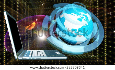 Computer laptop and globe planer over abstract cosmic background.Internet - stock photo