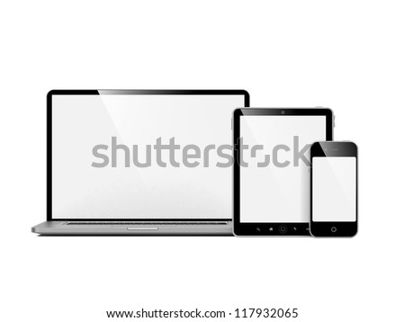 Computer, Laptop and Phone. Set of Computer Devices on White. - stock photo