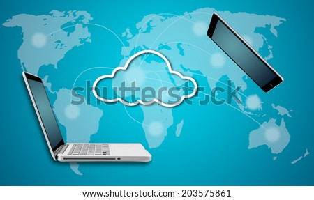 Computer laptop and tablet with cloud network concept on blue background