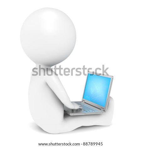 Computer Laptop. 3D little human character with a Laptop. People series.