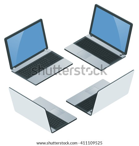 Computer,  laptop isolated, notebook, ipad, tablet, laptop icon, laptop screen,   Laptop image. Laptop computer. Laptop mobility. Laptop isometric. Laptop blank screen. Laptop on white background. - stock photo