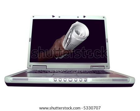 computer laptop isolated over white by clipping path showing a news concept on the screen.
