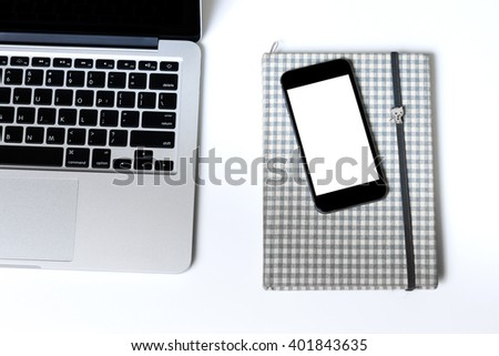 Computer laptop note book and smart phone on white background - stock photo
