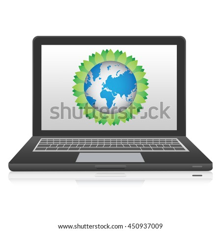 Computer Laptop or Computer Notebook With Earth and Tree Leaf Icon on Screen Isolated on White Background