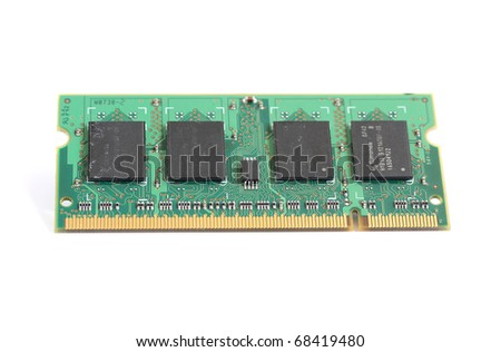 computer laptop RAM memory microchip module isolated on white background - stock photo