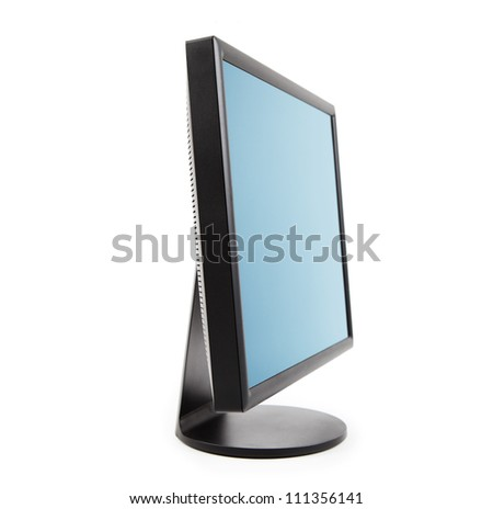 Computer LCD flat panel monitor sideview, isolated on white. - stock photo