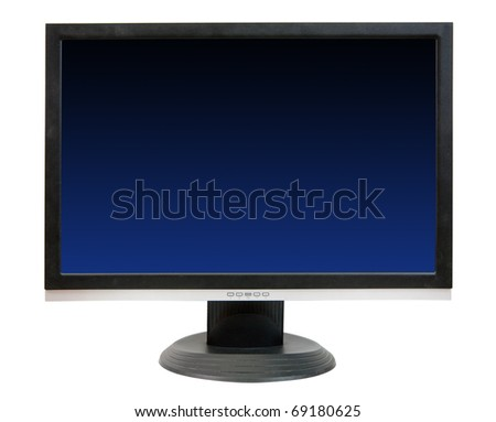 Computer LCD monitor. Isolated on white background with clipping path - stock photo
