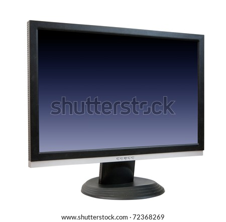 Computer LCD monitor. Isolated on white background with clipping path