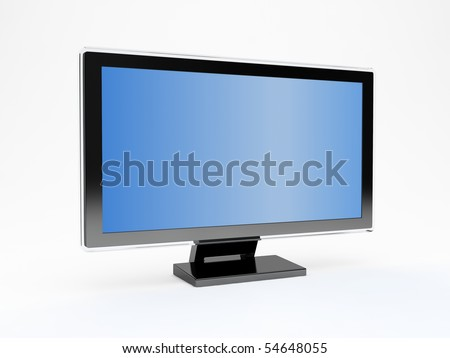 Computer LCD monitor on white background - stock photo