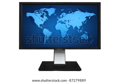 Computer LCD Monitor with blue world map isolated on white background