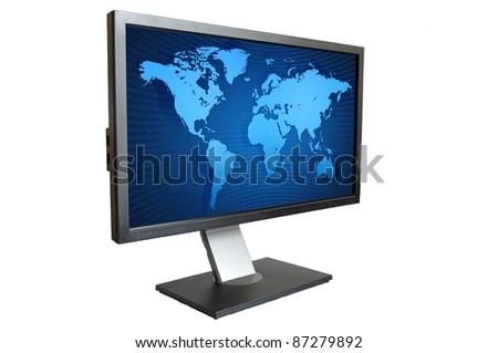 Computer LCD Monitor with blue world map isolated on white background - stock photo