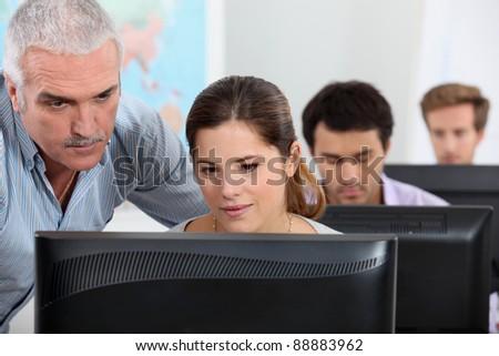 Computer lesson - stock photo
