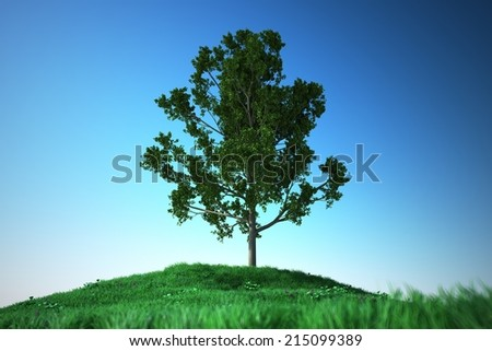 Computer made illustration of oak on Grass hill with flower - stock photo