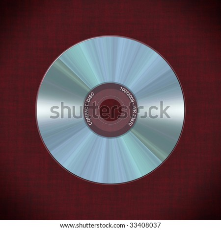 Computer-made illustration: realistic compact disc on a red background
