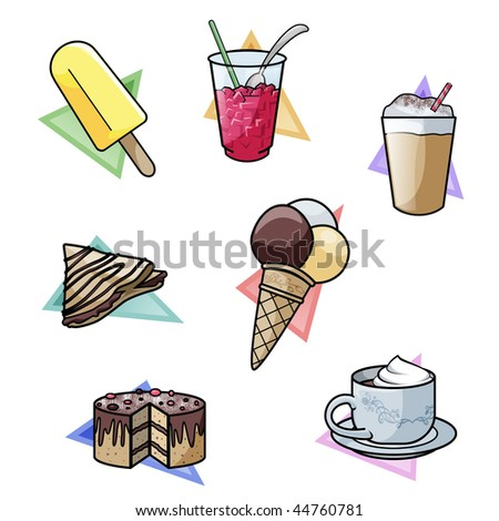 Computer-made illustration: set of seven yummy sweet delicacies. From top-left: popsicle - crushed ice drink - milkshake - french crepe - ice cream - cake - hot chocolate - stock photo
