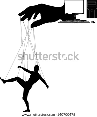 computer marionette. fourth variant. raster variant - stock photo