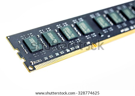 Computer memory bankl DDR3  on white background.