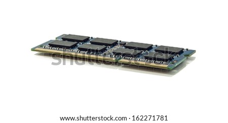Computer Memory  Chip on a White Background
