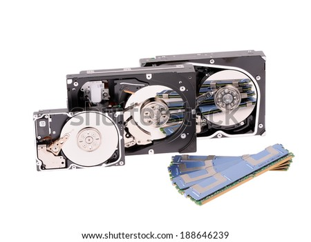 computer memory components on white background