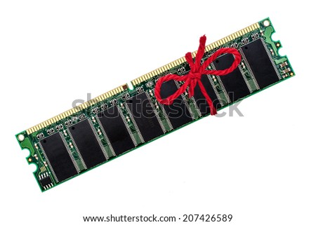 "Computer memory module improved with red wool around it. Close-up image isolated on white background. ""Don't forget!"" Concept."