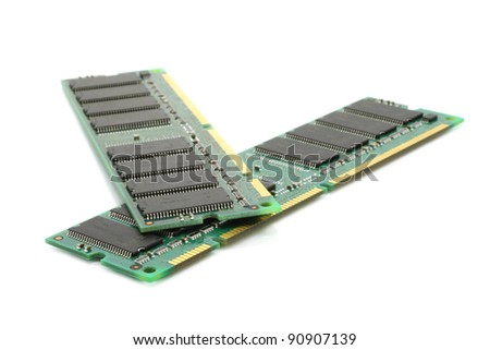Computer memory modules on a white background