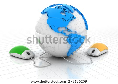Computer mice connecting to a globe, 3d render