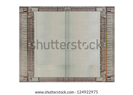 Computer micro chip isolated on white - stock photo