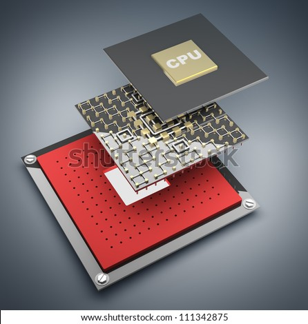 Computer microchip CPU disassembled. Icon 3D. High resolution - stock photo