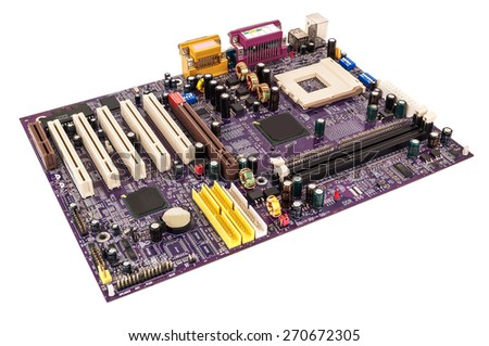 computer microcircuit on white background - stock photo