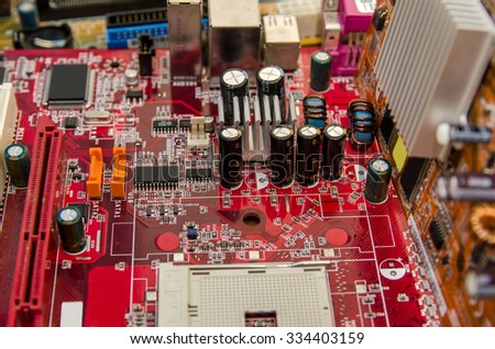 computer, Microcircuit technology: chips on red board