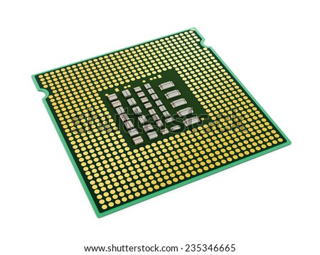 Computer microprocessor isolated on white background.