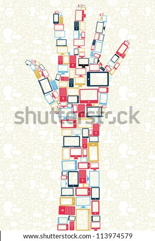 Computer, mobile phone and tablet colors icons in human hand shape over social media backgroun.