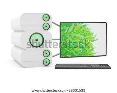 Computer modern. 3D green energy concept - stock photo