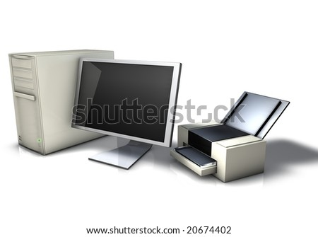 Computer, Monitor and Printer - stock photo