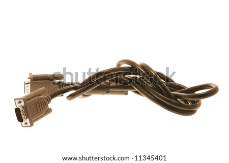 Computer Monitor Cable on White Background