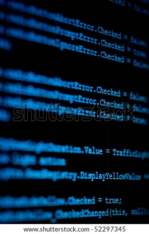 computer monitor displaying program source code in blue - stock photo