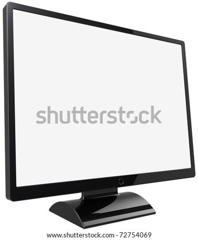 Computer monitor flat lcd colored black with blank screen. This is a detailed render 3d (Hi-Res). Isolated on white background