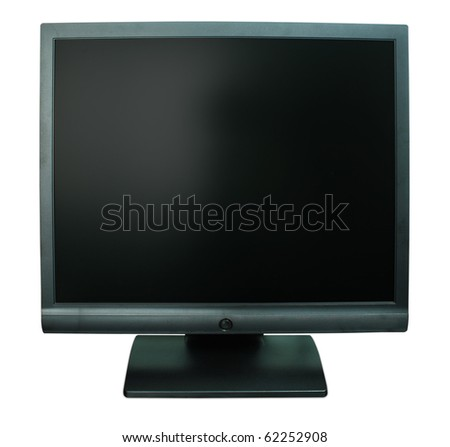 Computer monitor in black over a white background