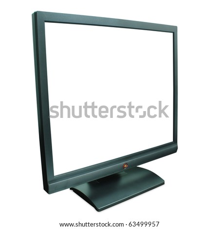 Computer monitor in black over a white background - stock photo