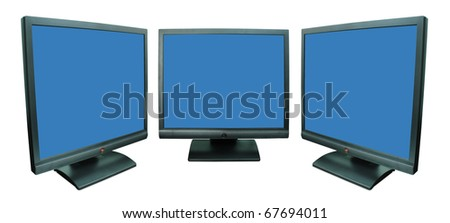 Computer monitor in blue over a white background - stock photo