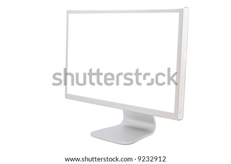 computer monitor in white over a white background - stock photo