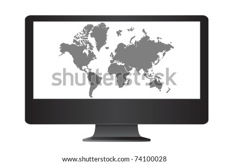 Computer monitor isolate on the white with world map. - stock photo