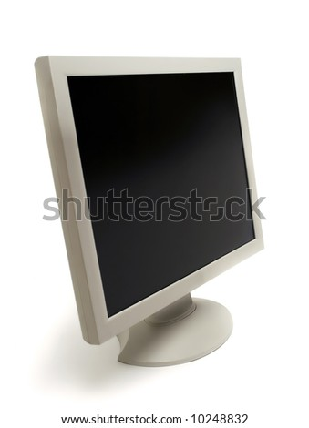 computer monitor isolated on white - stock photo