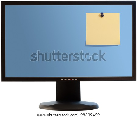 Computer monitor isolated with clipping path on white background with blank yellow post-it note attached by pushpin - stock photo